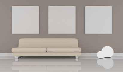 Mock up poster with modern puristic interior