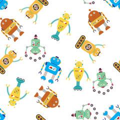 Cute funny robots seamless pattern,
