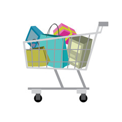 Shopping trolley, isolated on white background