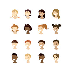 Set teenager faces,different nation and races