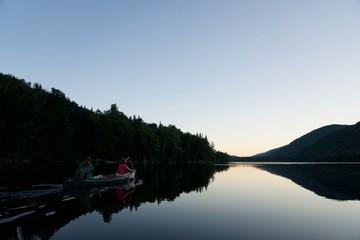 paddling home at dusk