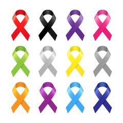 Multicolor awareness ribbon set on white background.