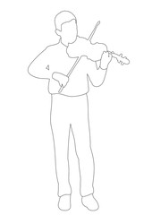 Vector, isolated, outlines boy playing the violin sketch, outline