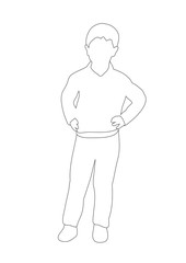 Vector, isolated, outlines boy sketch, outline