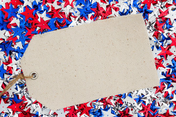 USA red, white and blue stars with gift tag background