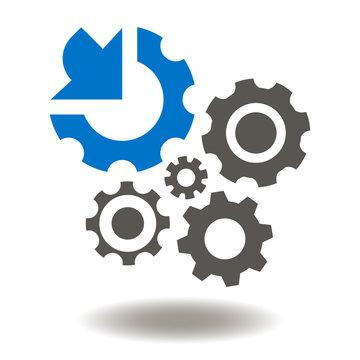 Gears Arrow Integration Vector Icon. Cogwheel integrated Mechanism Illustration. Industrial Business Integrate Logo Sign.