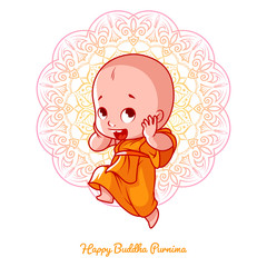 Little happy monk in the orange robe.