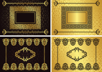 Set of cards with a gold frame and borders on seamless background