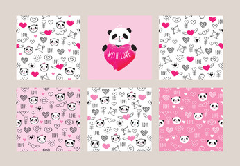 Set of greeting card and seamless patterns with pandas and hearts for textile, wallpapers, gift wrap and scrapbook. Elements for mother's day, father's day, Valentine's Day, birthday. Vector.