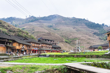 square and houses in Dazhai Longsheng village