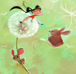 flying with dandelion