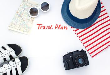 Travel plan concept flat lay