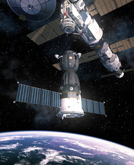 Fotobehang - Spacecraft Is Preparing To Dock With International Space Station