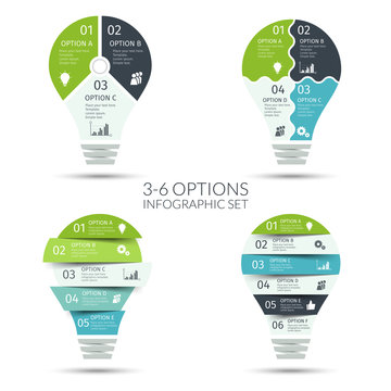 Modern light bulb infographic set. Business concept with 3 4 5 6 options, parts, steps or processes. Template for presentation, chart, graph. Vector illustration