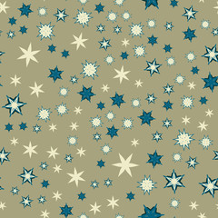 Seamless texture with stylized flowers and stars
