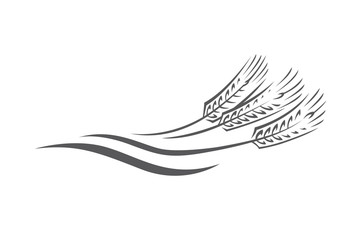 monochrome illustration of ears of wheat logo