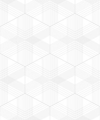 Abstract seamless pattern of lines and geometric shapes. Monochrome image.