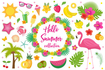 Hello summer collection of design elements,flat style. Tropical set with exotic flowers, flamingos, fruits. Beach concept kit objects, isolated on white background. Vector illustration, clip-art