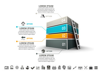 Four Stacked 3D Boxes with Ladder Inforgraphic Layout