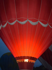 Illuminated Orange Hot Air Balloon At Dusk