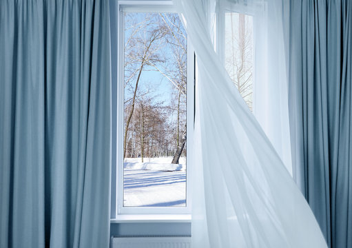View of winter park through modern window in room