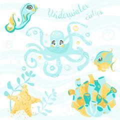 Underwater cuties, vector underwater characters set