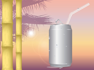 vector illustration of sunset on the sea background in orange colors. silhouette of palm trees in the background. the sun is shining. the trunks of the bamboo. blank aluminum cans in drops of water