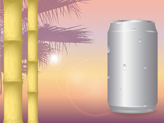 vector illustration of sunset on the sea background in orange colors. silhouette of palm trees in the background. the sun is shining. blank aluminum cans in drops of water. the trunk of bamboo