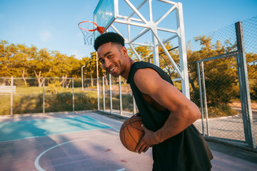 Man playing basketball, street ball, man playing, sport competitions, afro, outdoor portrait,sport games,handsome black man,pretty,man holding ball