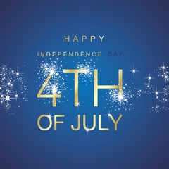 Day 4th July spark firework gold blue vector