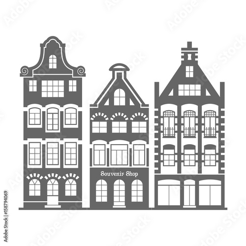 Set of 3 shape Amsterdam, Holland old houses facades