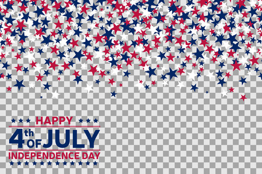 Seamless pattern with stars for 4th of July celebration on transparent background.