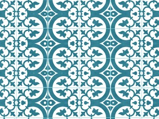 Vintage floral pattern floor tile. Retro interior design concept.
