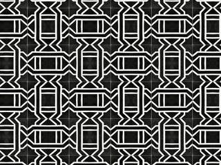 Vintage geometric pattern floor tile. Retro interior design concept.