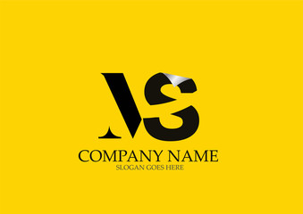MS Letter  Logo Design On Yellow Background