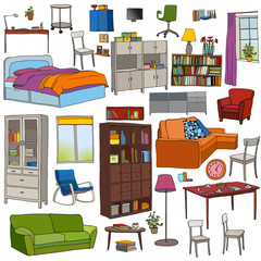 Color vector set of modern furniture objects: table, bookshelf, sofa, bed, armchair, cupboard, chairs, desk, window, pots.