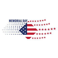 Isolated memorial day emblem on a white background, Vector illustration