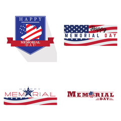 Set of memorial day emblems, Vector illustration