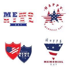 Set of memorial day emblems, Vector illustration