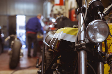 Motorcycle parked in garage