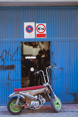 Bike at workshop gates