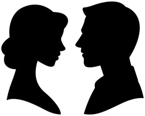 Vector silhouette cameo man and woman portrait in profile
