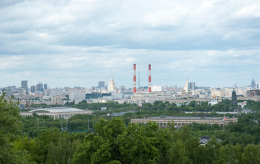 , View of the city from Vorobyovy Gory in Moscow