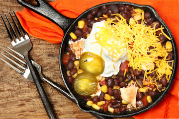 Black Bean and Corn with Grilled Chicken in Skillet