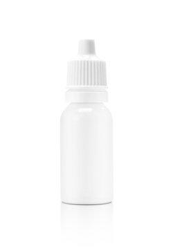blank packaging white plastic eyes dropper bottle isolated in white background