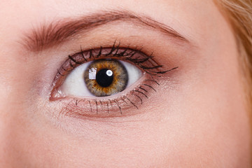 Detailed closeup of woman colorful eye