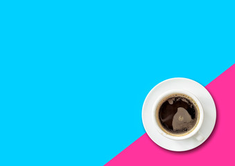 cup of black coffee on colorful background