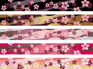 シームレスな和風パターンセット  桜