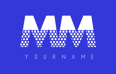MM M M Dotted Letter Logo Design with Blue Background.