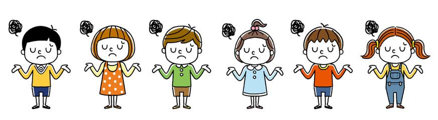 子供たち:がっかり、悩む